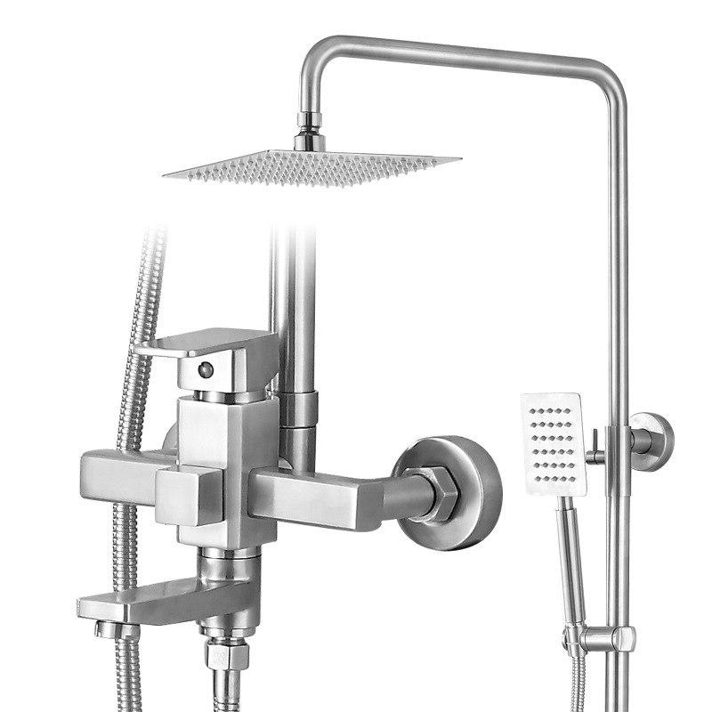 The square <font><b>shower</b></font> 304 <font><b>panel</b></font> <font><b>shower</b></font> set square high-end <font><b>shower</b></font> faucet cold and mixer