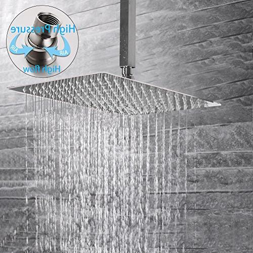 SR Spout Rain with Rain Shower Head and Shower Combo Ceiling Rainfall Brushed Nickel