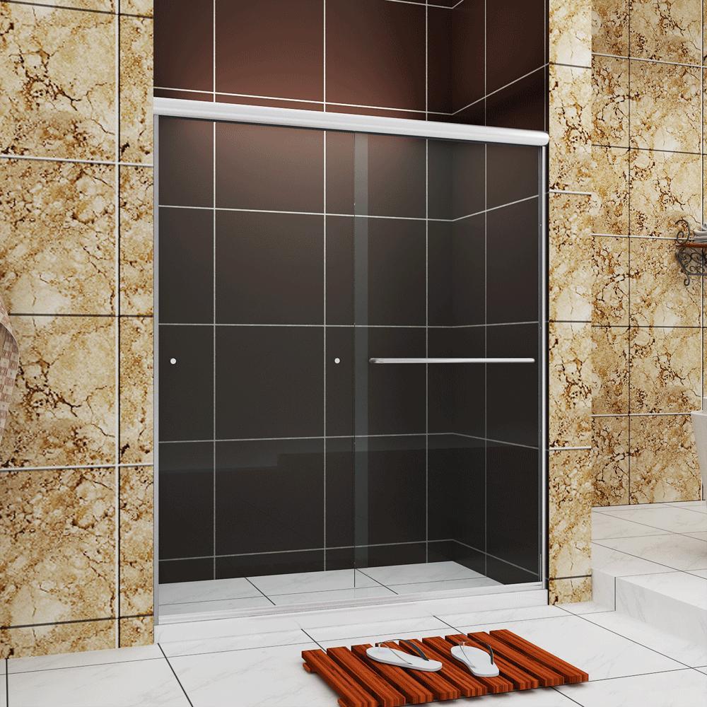 """56""""-60"""" W x 72"""" H Frameless Bypass Sliding Shower Door Brush"""
