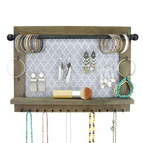 Wall Necklace Holder And Jewelry Organizer Large Rustic