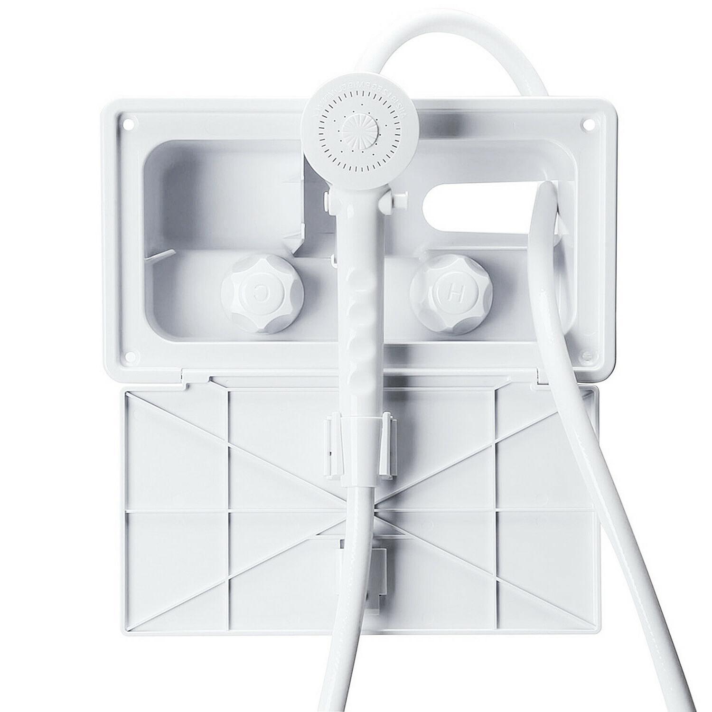 white rv outside outdoor exterior shower box