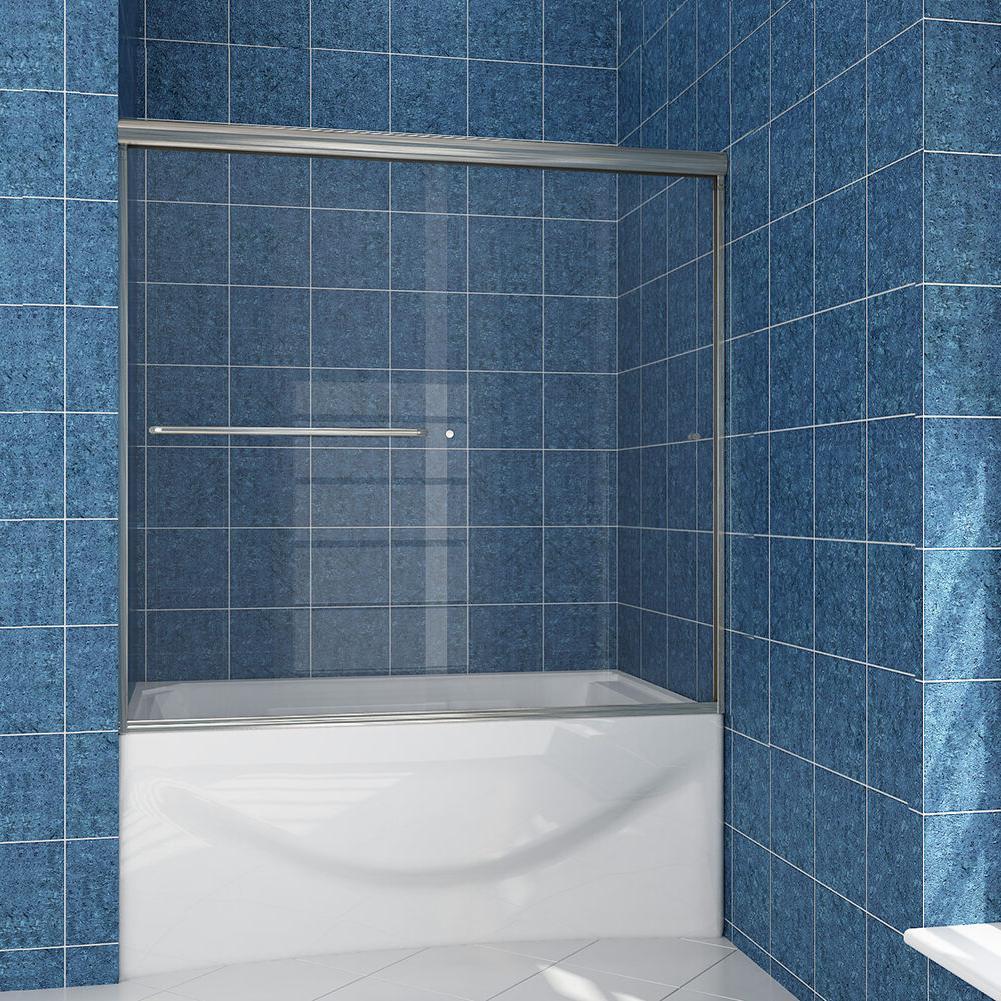 """New 60"""" Wide 2 Frameless Bypass Bath Tub Shower Door 1/4"""" Cl"""