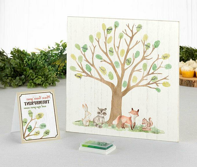 Woodland Signing Canvas Baby Shower Guest