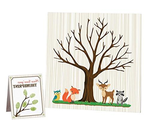 woodland shower guest signing canvas
