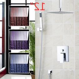 LED 12''  Rainfall Bathroom Shower Head Mixer Faucet  With H