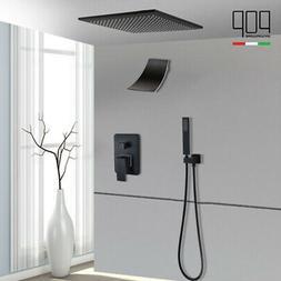 "LED Oil Rubbed Bronze 10"" Rainfall Bathroom Shower Faucet Se"