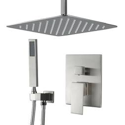LED Oil Rubbed Bronze Bathroom Shower Set Faucet Rainfall Sh