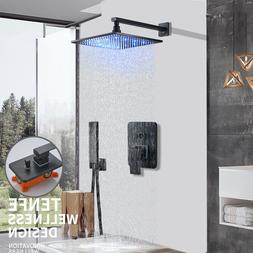 LED Rainfall Shower Wall Mounted Shower Faucet With Hand Sho