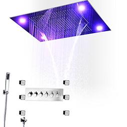 hm LED Shower Combo with 80x60cm with 4 Function Shower Head