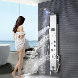 LED Stainless Steel  Shower Panel Tower Rain Waterfall Massa