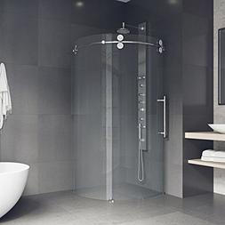 VIGO 40 x 40 Left Open Frameless Round Sliding Shower Enclos
