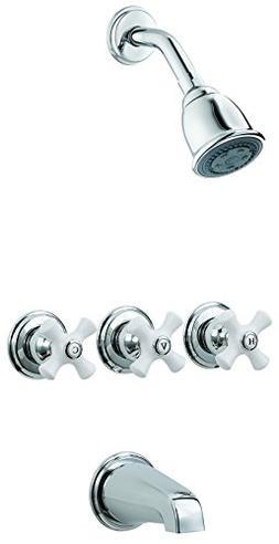 Pfister LG01-8CPC 3-Handle Tub & Shower Faucet With Porcelai