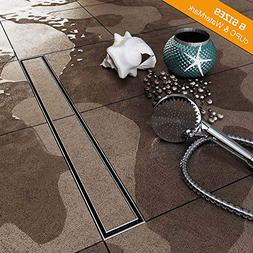 48-Inch Linear Shower Drain with Tile Insert Grate, Brushed