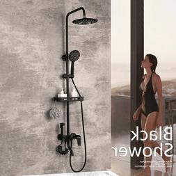 """9"""" Round Matte Black Rain Shower Faucet Mixer Valve Tap Set"""