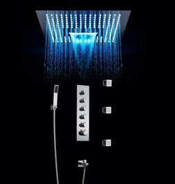 Luxury Bathroom Thermostatic Valve Shower Set 400*400mm LED