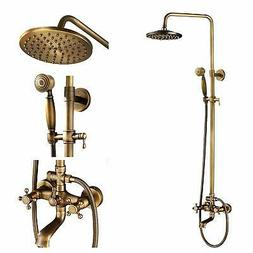 Luxury Exposed Antique Brass Rain Shower Faucet Set Bathroom