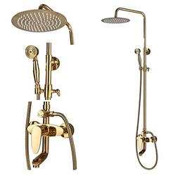 Rozin Luxury Gold Color Bathroom Shower Set Tub Faucet 10-in