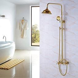 Rozin Luxury Gold Polished Bathroom Shower Faucet Set Rainfa