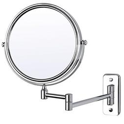 """SONGMICS 8"""" Wall Mount Makeup Mirror 5X Magnifying Two-Sided"""