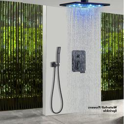 Matte Black Shower Faucet 12 inch LED Rainfall Shower Head H