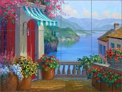 Mediterranean Tile Backsplash Mikki Senkarik Lake Como Art C