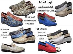 Men Vintage Glitter Stage Dress Shoes Tuxedos Loafers Slip O