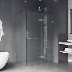 VIGO 32 x 48 Inch Frameless Rectangular Hinged-Pivot Shower