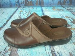 *NEW* Clarks Bendables Brown Leather Clogs Mules Slip-on Sho