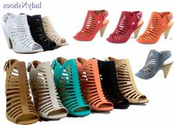 NEW Fashion Strappy Caged Kitten Chunky Heel Women's Sandal