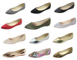 New women lady basic pointy toe  ballet flats slip on loafer