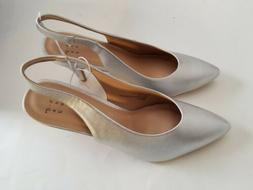 NEW Women's Silver Metallic Slingback Low Heel Dress Sandal