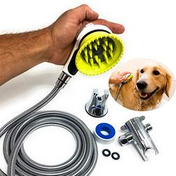 All-In-One Quality Dog Shower Kit | WATER SPRAYER BRUSH & RU