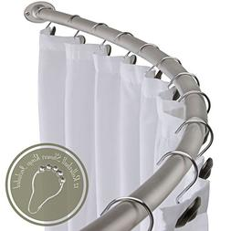 """60"""" - 72"""" Opening Curved Shower Rod with Rings - Brushed Nic"""