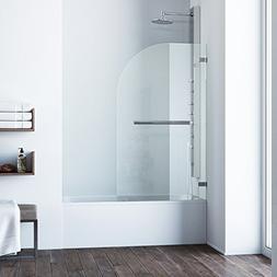 Orion Clear Curved Bathtub Door, Chrome