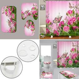 Pink Rose Bathroom Set Butterfly Print Shower Curtain Mat Pa