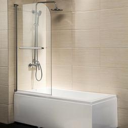 """55"""" x 31"""" Pivot Radius Frameless Bath Shower Door 1/4"""" Clear"""