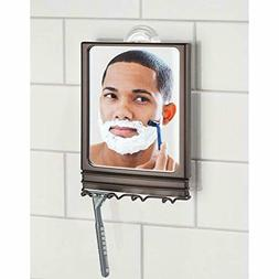 mDesign Power Lock Suction Bathroom Shaving Mirror with Stor