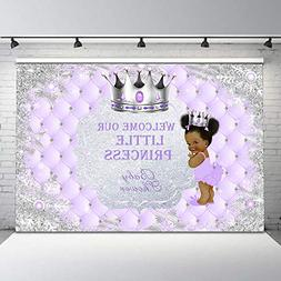 Mehofoto Purple and Silver Baby Shower Backdrop Winter Froze