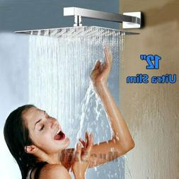 Rainfall Shower Head 12 inch, Solid Stainless Steel Square R