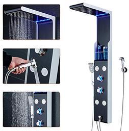 ELLO&ALLO LED Rainfall Waterfall Shower Head Rain Massage Sy