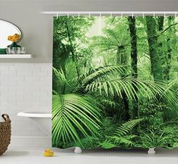 Ambesonne Rainforest Decorations Shower Curtain Set, Palm Tr