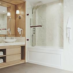 VIGO Rialto 34-in. Bathtub Door with .3125-in. Clear Glass a