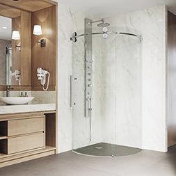 VIGO 36 x 36 Right Open Frameless Round Sliding Shower Enclo