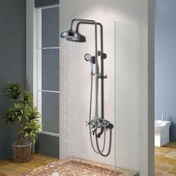 "Rozin Brushed Nickel Bathroom 8"" Rainfall Shower Head Faucet"