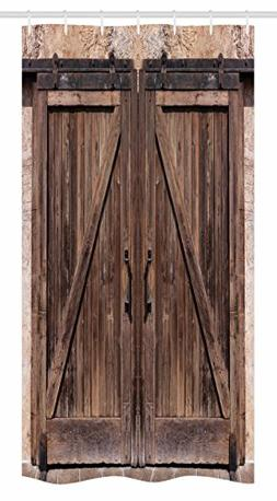 Ambesonne Rustic Stall Shower Curtain, Wooden Barn Door in S