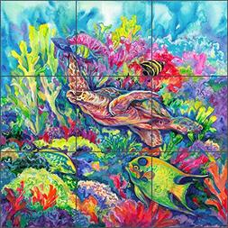Sea Life Art Tile Mural Backsplash Tropical Reef Loggerhead