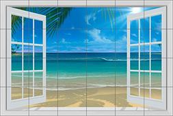 Seascape Tile Mural Backsplash - Paradise Beach II by David