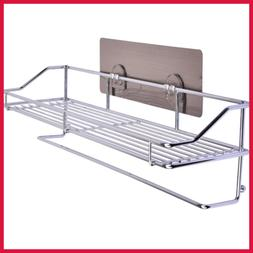 Self Adhesive Chromed Metal Shower Caddy Storage Basket Bath