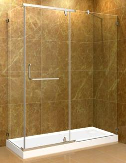 60 Inch x 35 Inch Semi-Frameless Shower Enclosure in Chrome