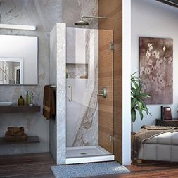 """Dreamline Frameless Shower Door, 24"""" Wide Unidoor Brushed Ni"""